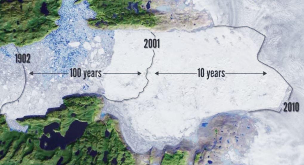 Historique de la fonte d'un glacier au Groenland